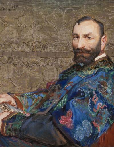 """Leon Wyczółkowski (1852-1936) """"Portret Mangghi w niebieskim kaftanie"""", 1911 rok, źródło: Muzeum Narodowe w Krakowie"""