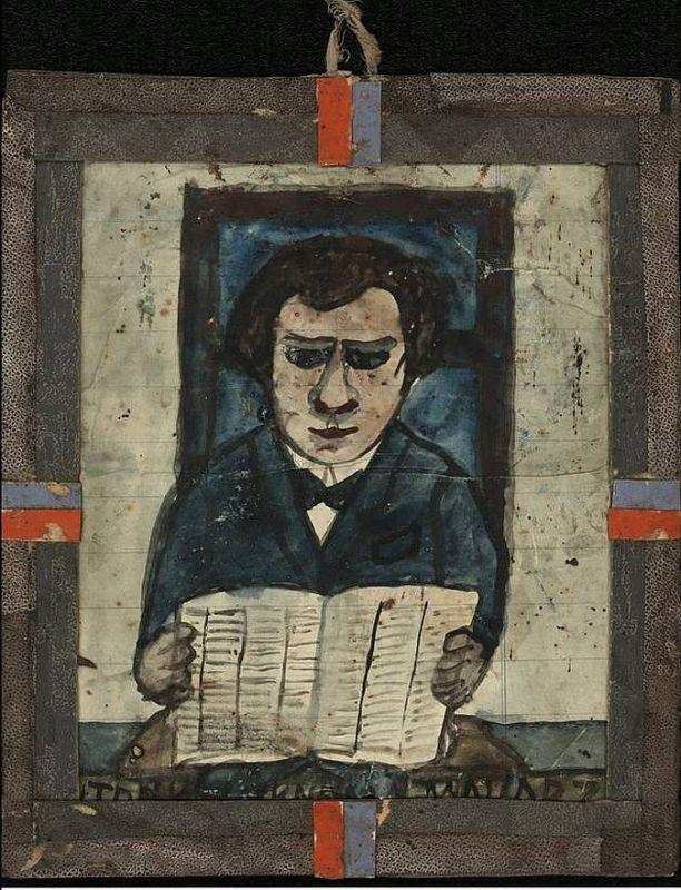"""Nikifor (1895 - 1968) """"Autoportret"""", źródło: A.Banach, """"Nikifor"""", Wydawnictwo Arkady, 1983 rok"""