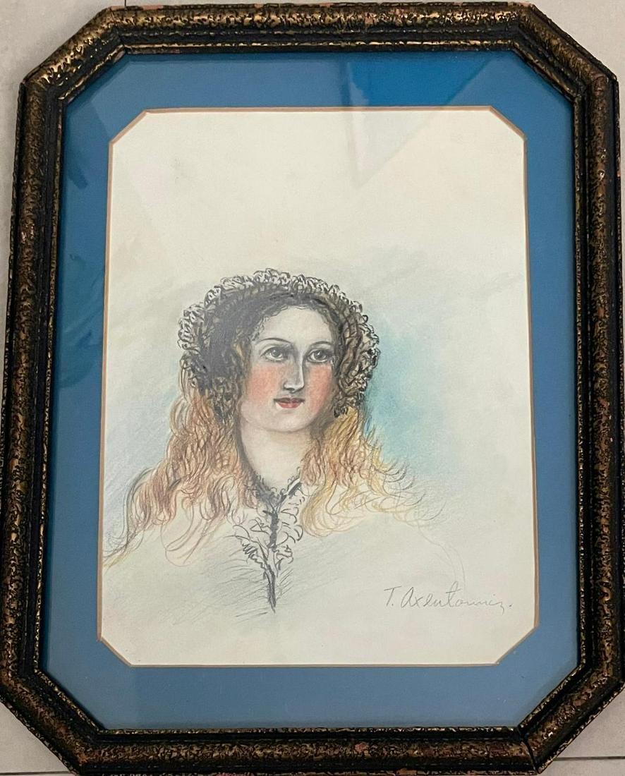 """Teodor Axentowicz (1859-1938) """"Portret kobiecy"""", źródło: Carstens Galleries"""