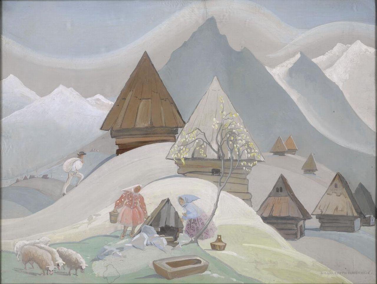 """Wanda Gentil-Tippenhauer (1899-1965) """"Szałasy"""", źródło: Muzeum Tatrzańskie w Zakopanem"""