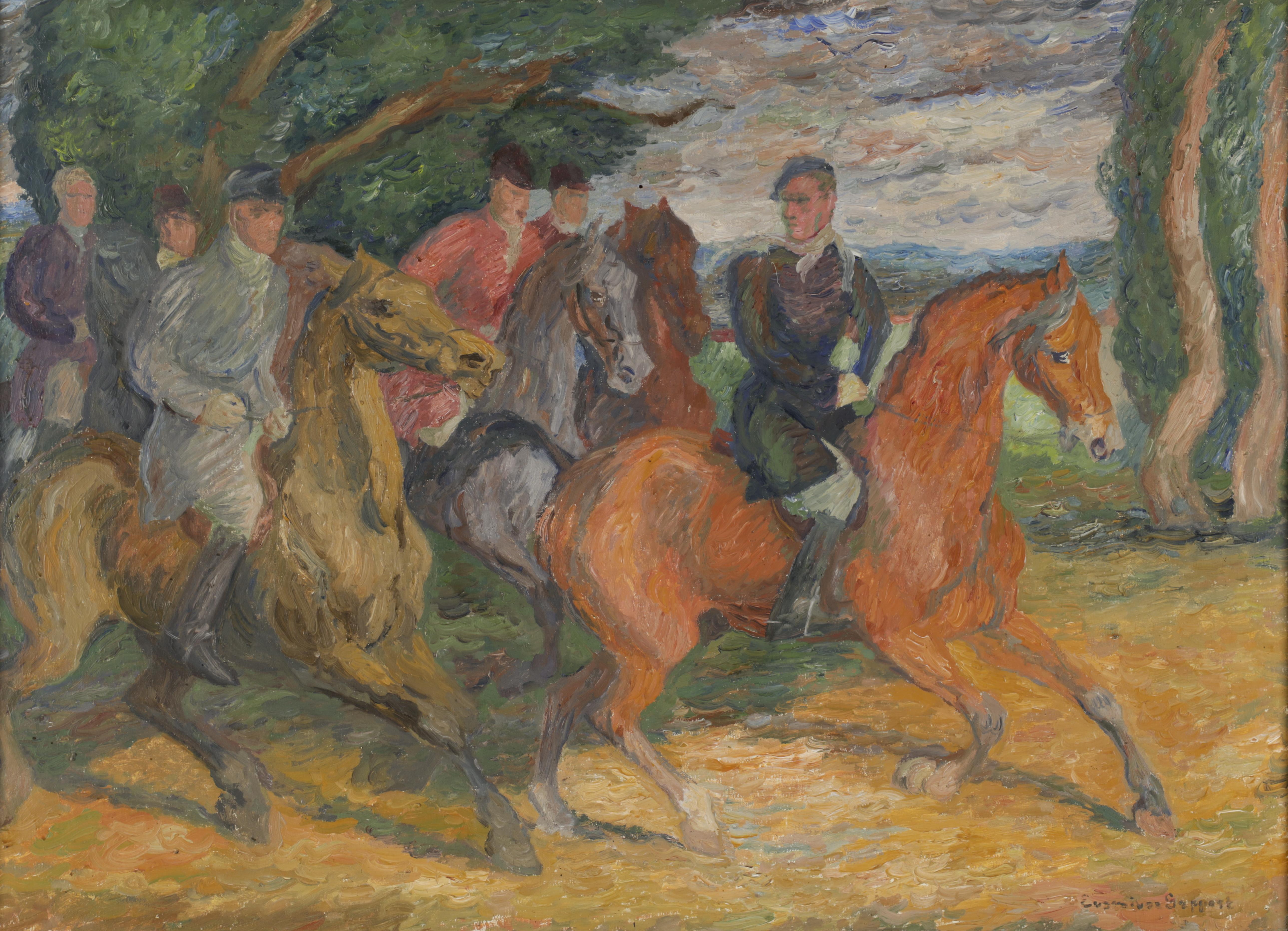 """Eugeniusz Geppert (1890-1979) """"Jeźdźcy"""" źródło: Dorotheum"""