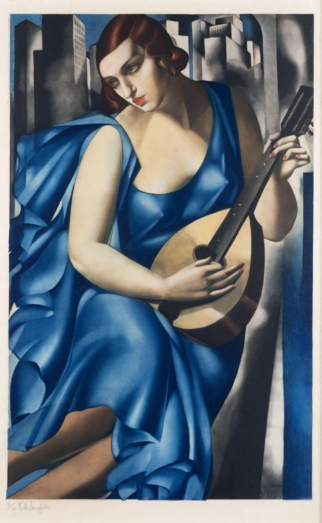 """Tamara Łempicka (1898-1980) """"Dziewczyna z mandoliną"""", źródło: Binoche et Giquello"""