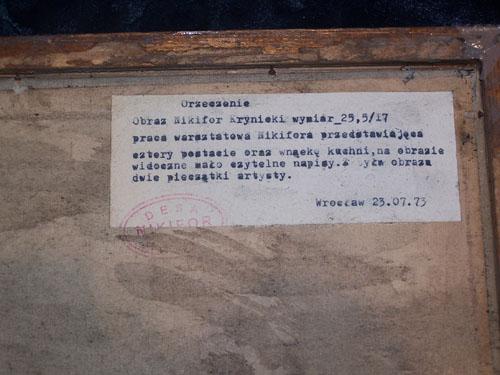 """Na odwrocie """"ekspertyza"""" oraz odcisk fantazyjnego stempla """"Desa/Nikifor"""" w wersji owalnej, źródło: archiwum autora"""