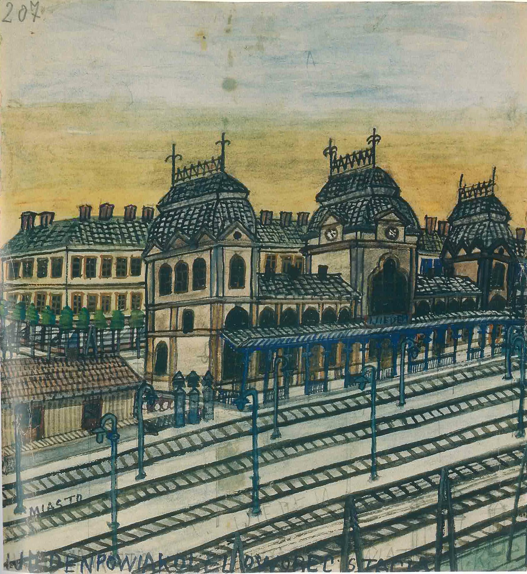 """Nikifor (1895 - 1968) """"Dworzec kolejowy w Wiedniu"""", źródło: Muzeum Okręgowe w Nowym Sączu"""