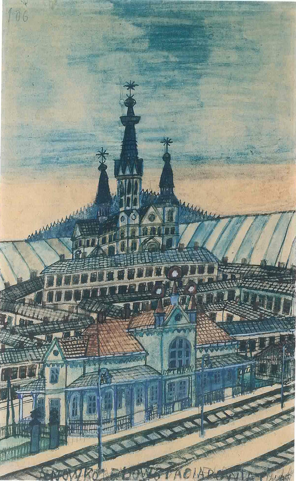 """Nikifor (1895 - 1968) """"Pejzaż górski z miastem i dworcem kolejowym"""", źródło: Z.Wolanin, """"Nikifor"""", Wydawnictwo """"BOSZ-art"""", 2000"""