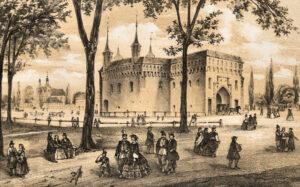 Krakowskim szlakiem: okolice Barbakanu z litografii Henryka Waltera