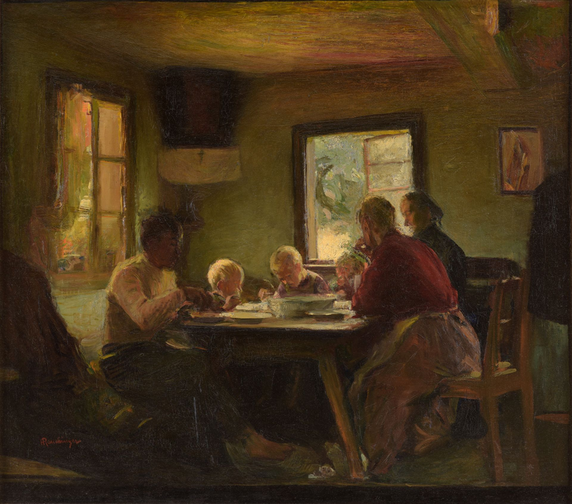 "Henryk Rauchinger (1856-1942) ""Rodzinny posiłek"", źródło: Düsseldorfer Auktionshaus"