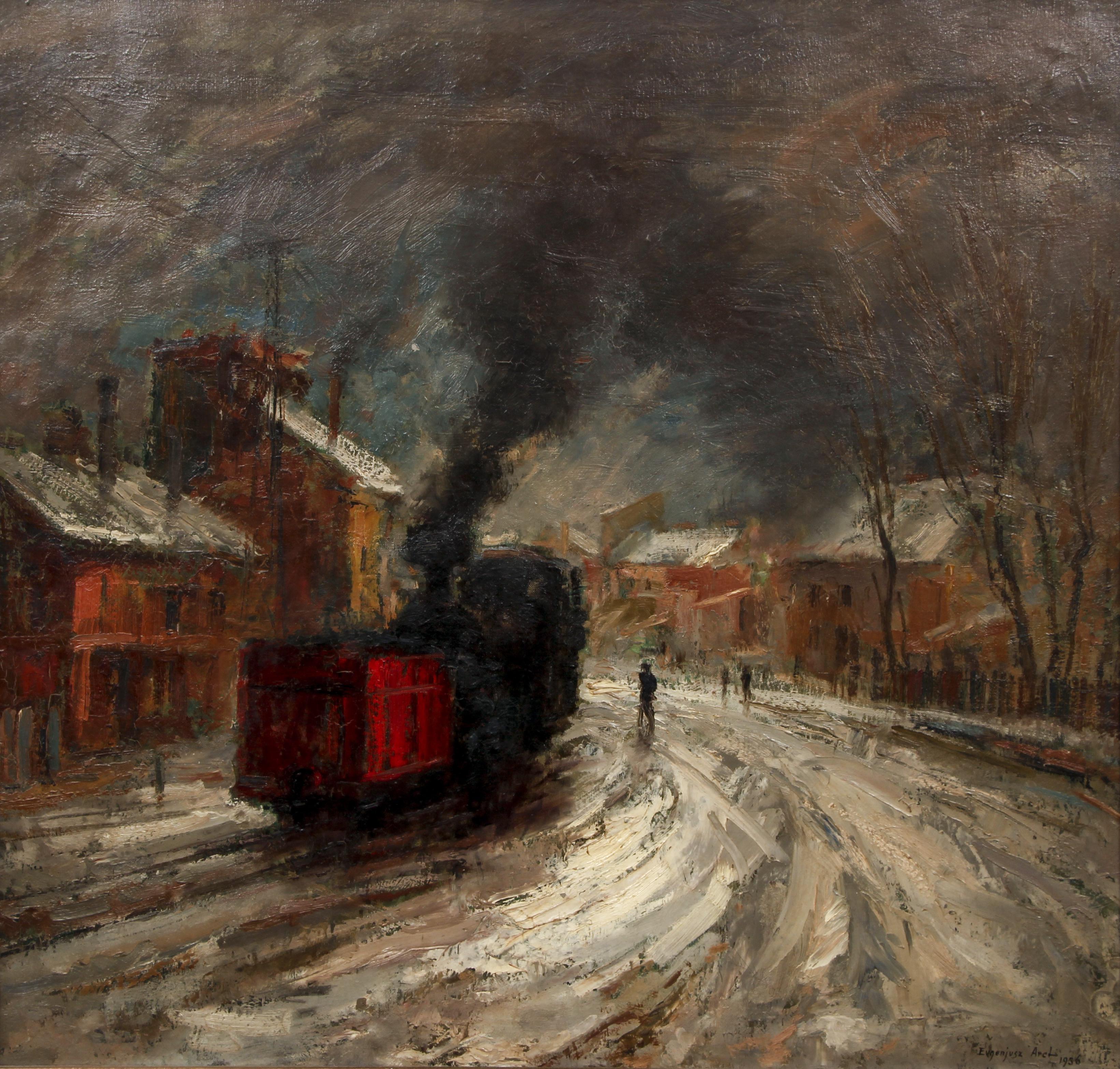 """Eugeniusz Arct (1899-1974) """"Pejzaż z lokomotywą i czerwonym wagonem"""" 1936 rok, źródło: Concept Art Gallery"""