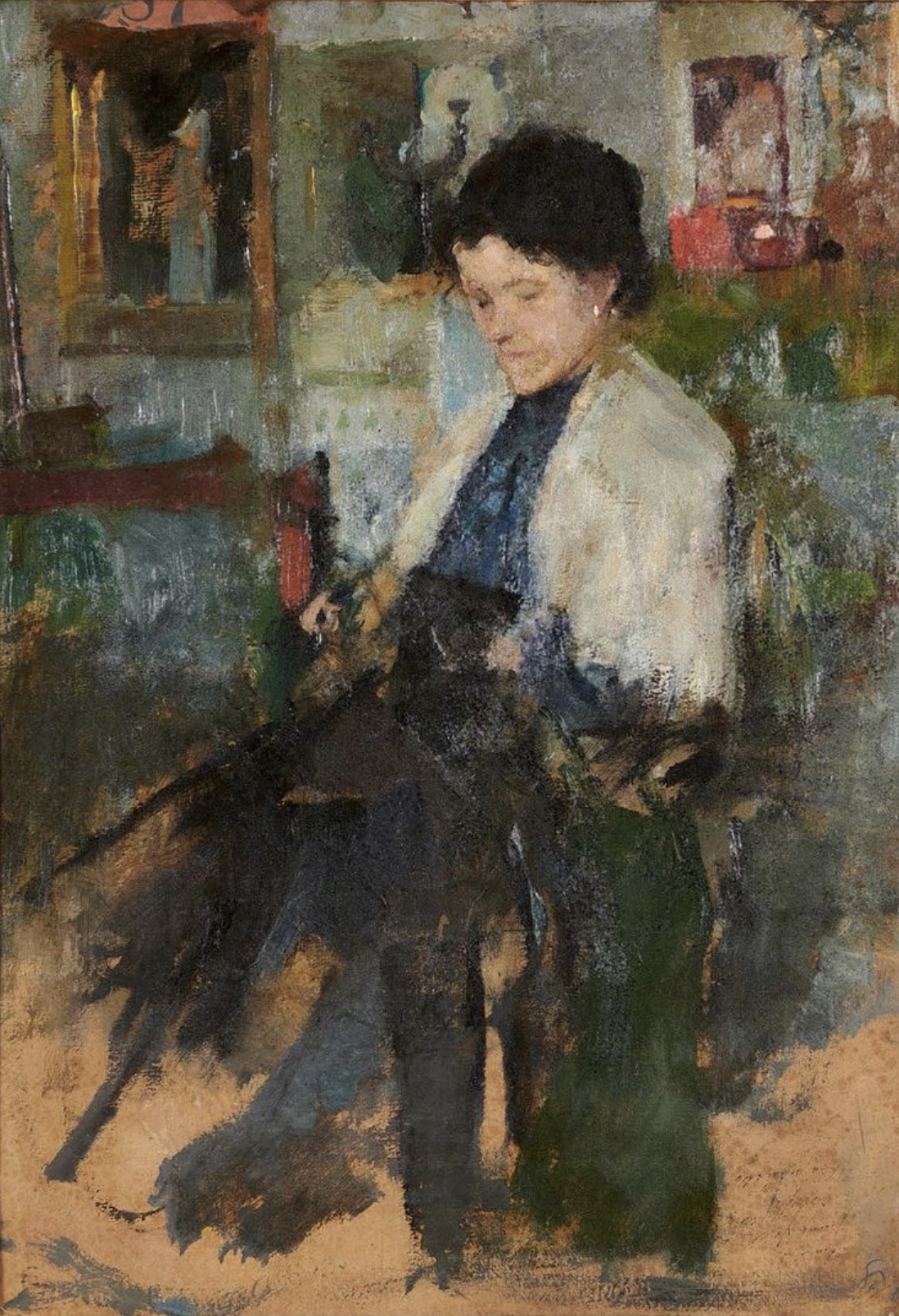 """Olga Boznańska (1865-1940) """"Studium siedzącej dziewczyny"""", źródło: Beaussant Lefèvre"""