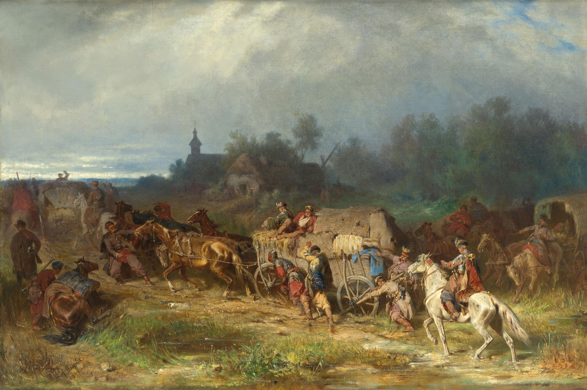 "Józef Brandt (1841-1915) ""Przewóz rannych"", 1865 rok, źródło: Dorotheum"