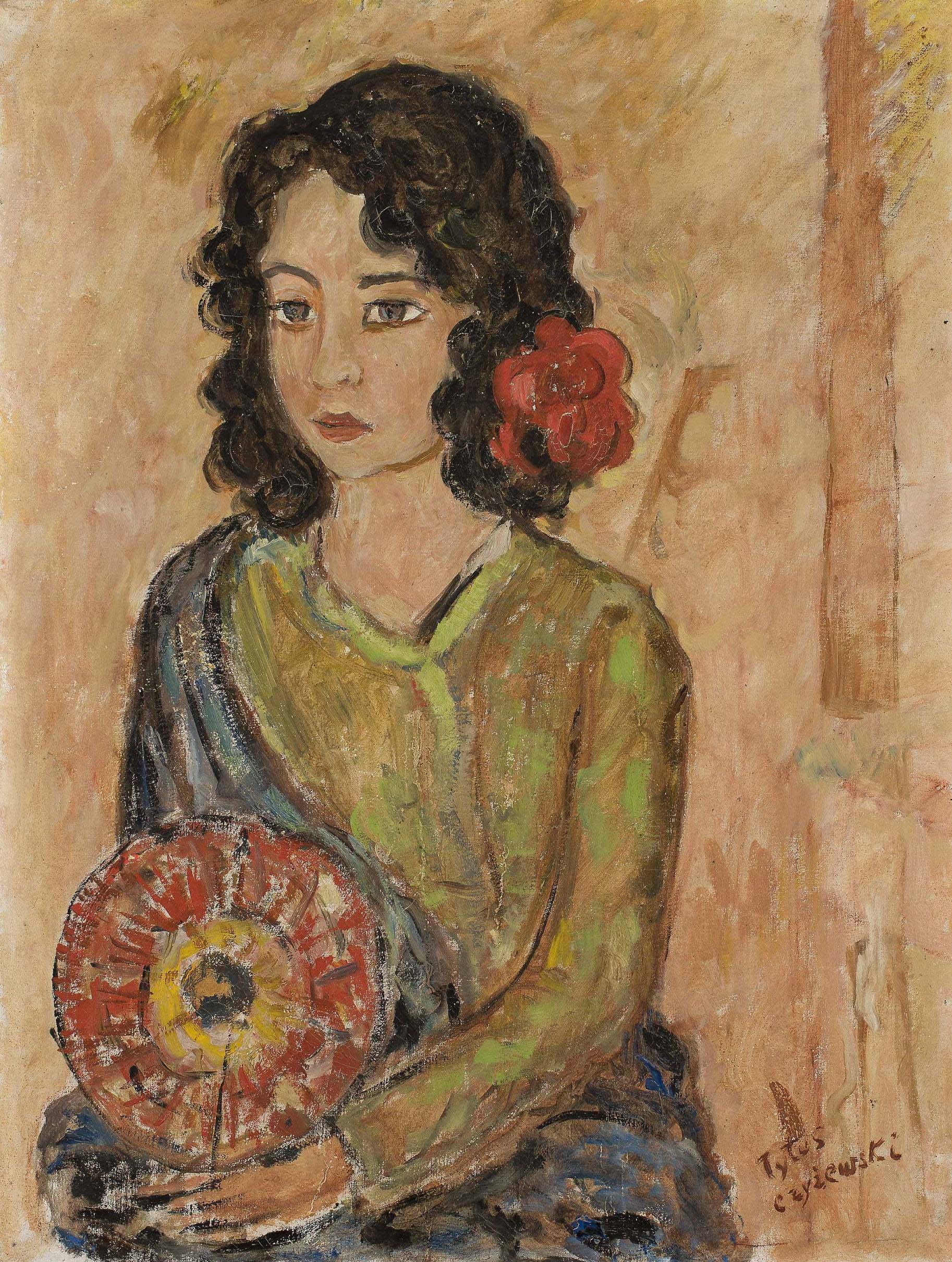 """Tytus Czyżewski (1880-1945) """"Dziewczyna z wachlarzem"""", przed 1939 rokiem, źródło: Muzeum Narodowe w Warszawie"""