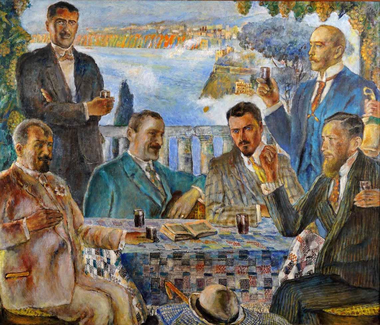 """Władysław Jarocki (1879-1965) """"Artyści przy stole"""", źródło: Polski Dom Aukcyjny"""