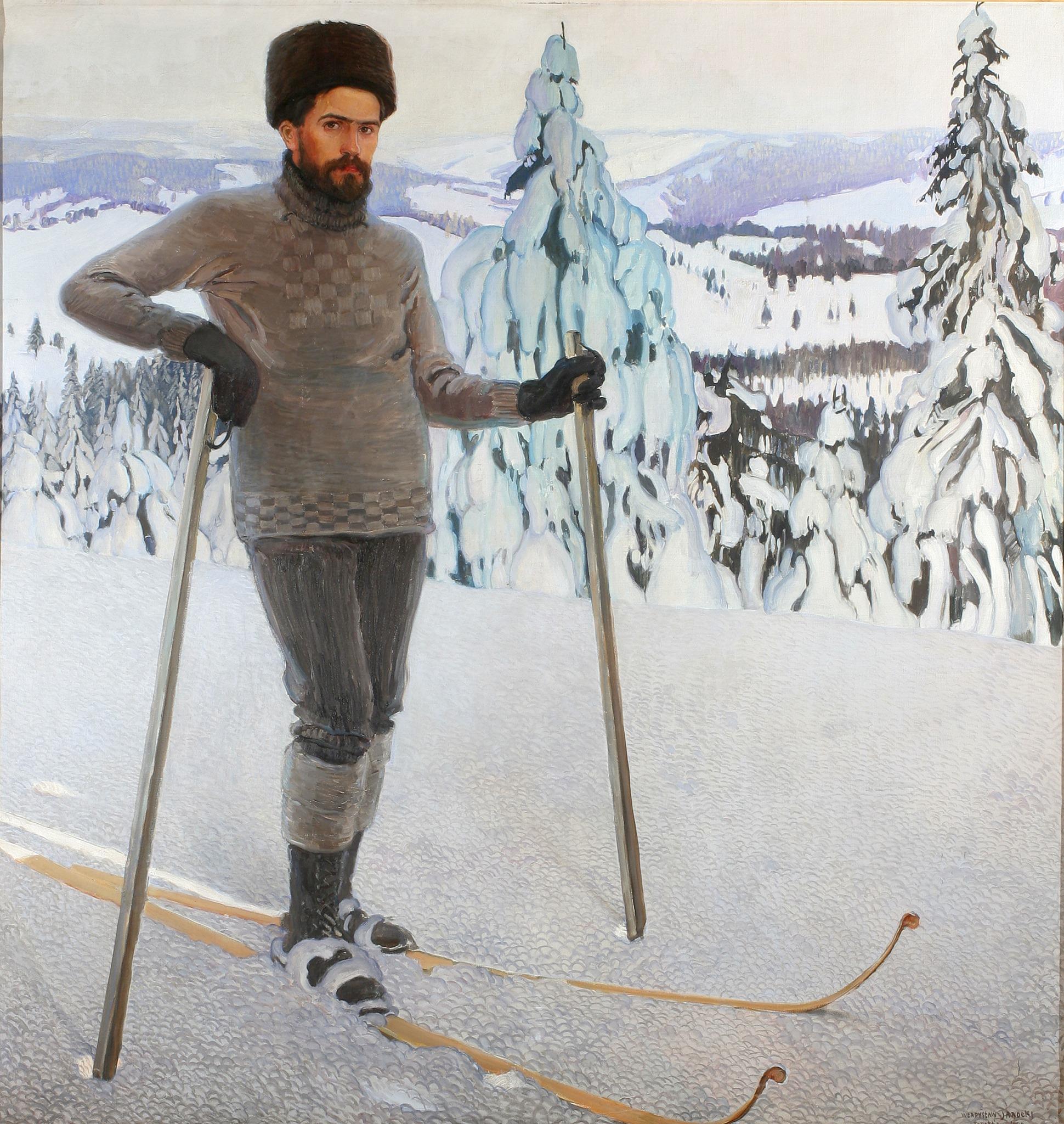 """Władysław Jarocki (1879-1965) """"Autoportret na nartach"""", 1909 rok, źródło: Muzeum Narodowe we Wrocławiu"""