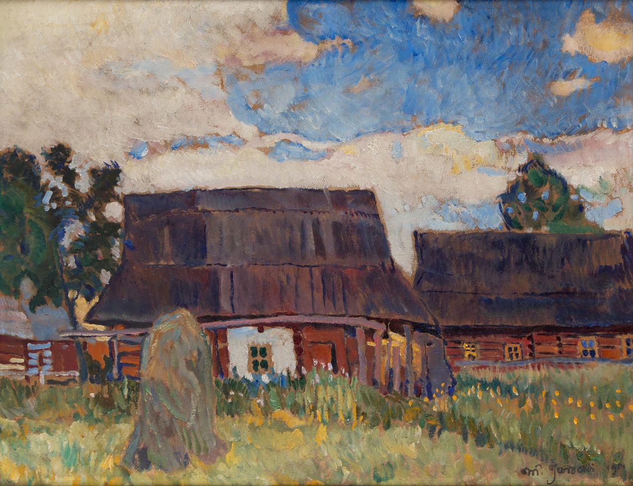 """Władysław Jarocki (1879-1965) """"Chaty góralskie"""", 1914 rok, źródło: Desa Unicum"""