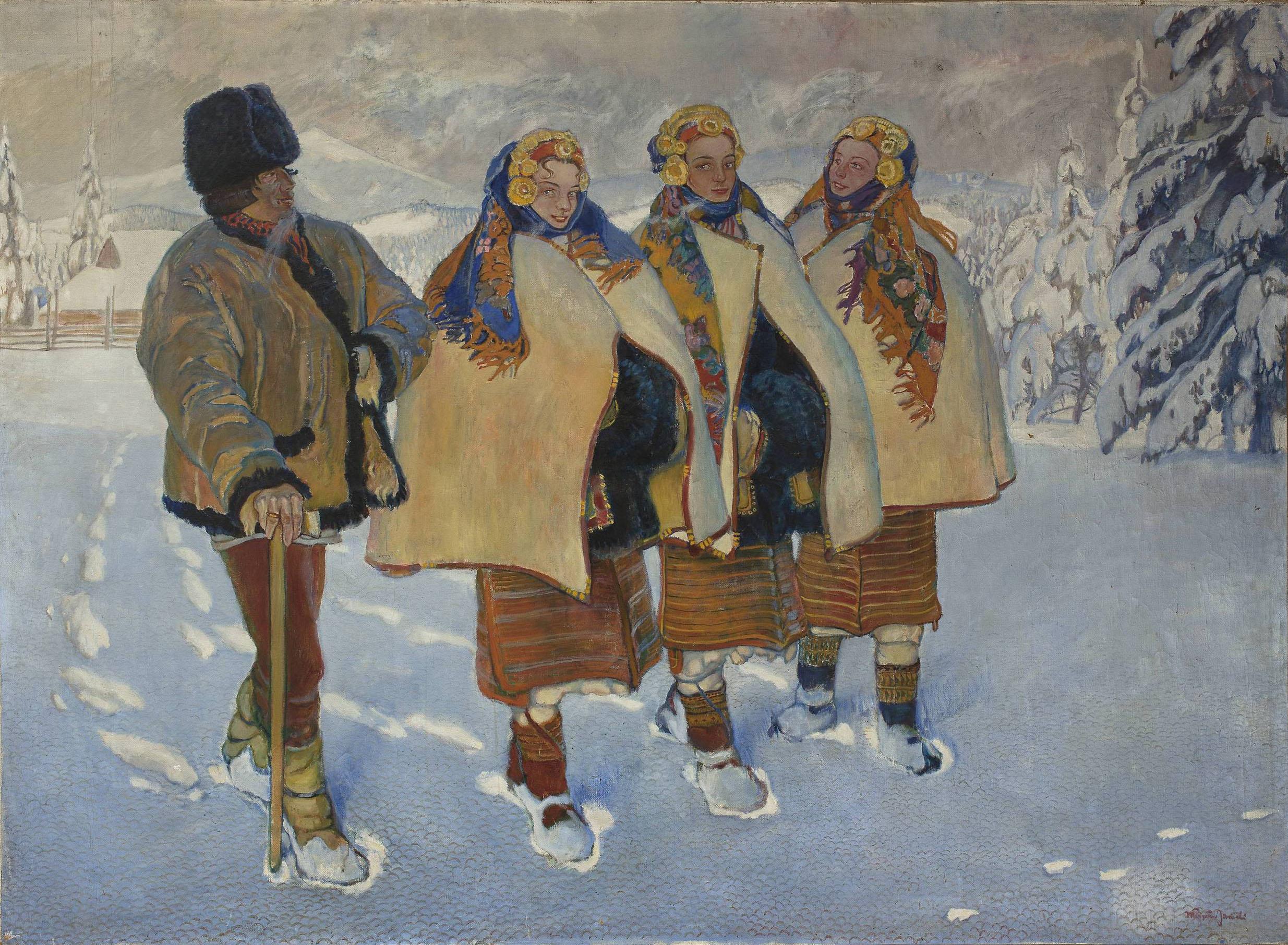 """Władysław Jarocki (1879-1965) """"Huculi w Karpatach"""", 1910 rok, źródło: Muzeum Narodowe w Warszawie"""