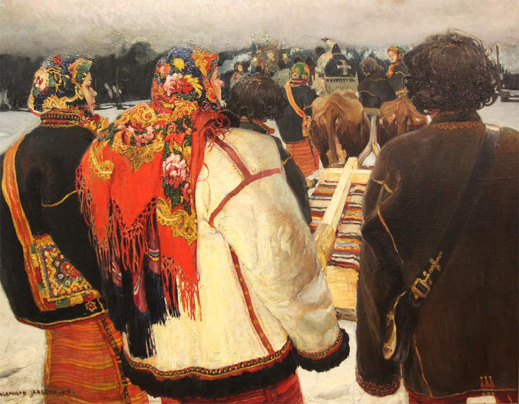 """Władysław Jarocki (1879-1965) """"Pogrzeb huculski"""", 1905 rok, źródło: Muzeum Narodowe w Poznaniu (fot. Leszek Lubicki)"""