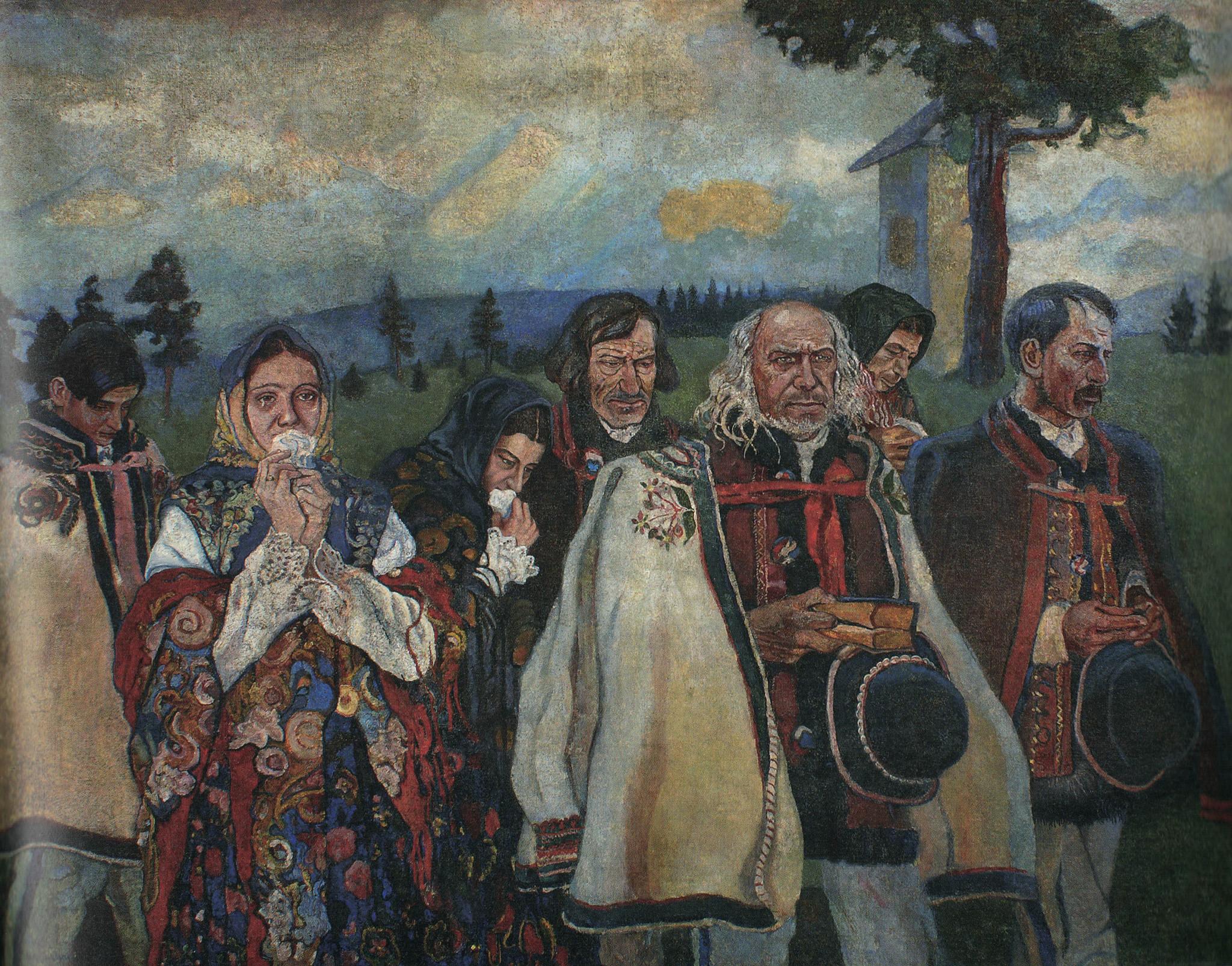 """Władysław Jarocki (1879-1965) """"Powrót z Golgoty"""", 1913 rok, źródło: Muzeum Okręgowe w Bydgoszczy"""
