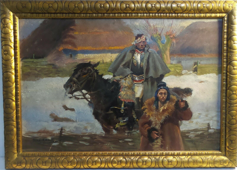 """Jerzy Kossak (1886-1955) """"Ranny kirasjer i dziewczyna"""", źródło: Livingston Auction Inc"""