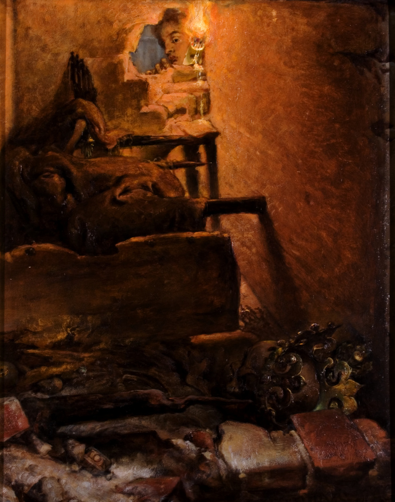 """Jan Matejko (1838-1893) """"Wnętrze grobu Kazimierza Wielkiego"""", 1869 rok, źródło: Muzeum Narodowe w Krakowie"""