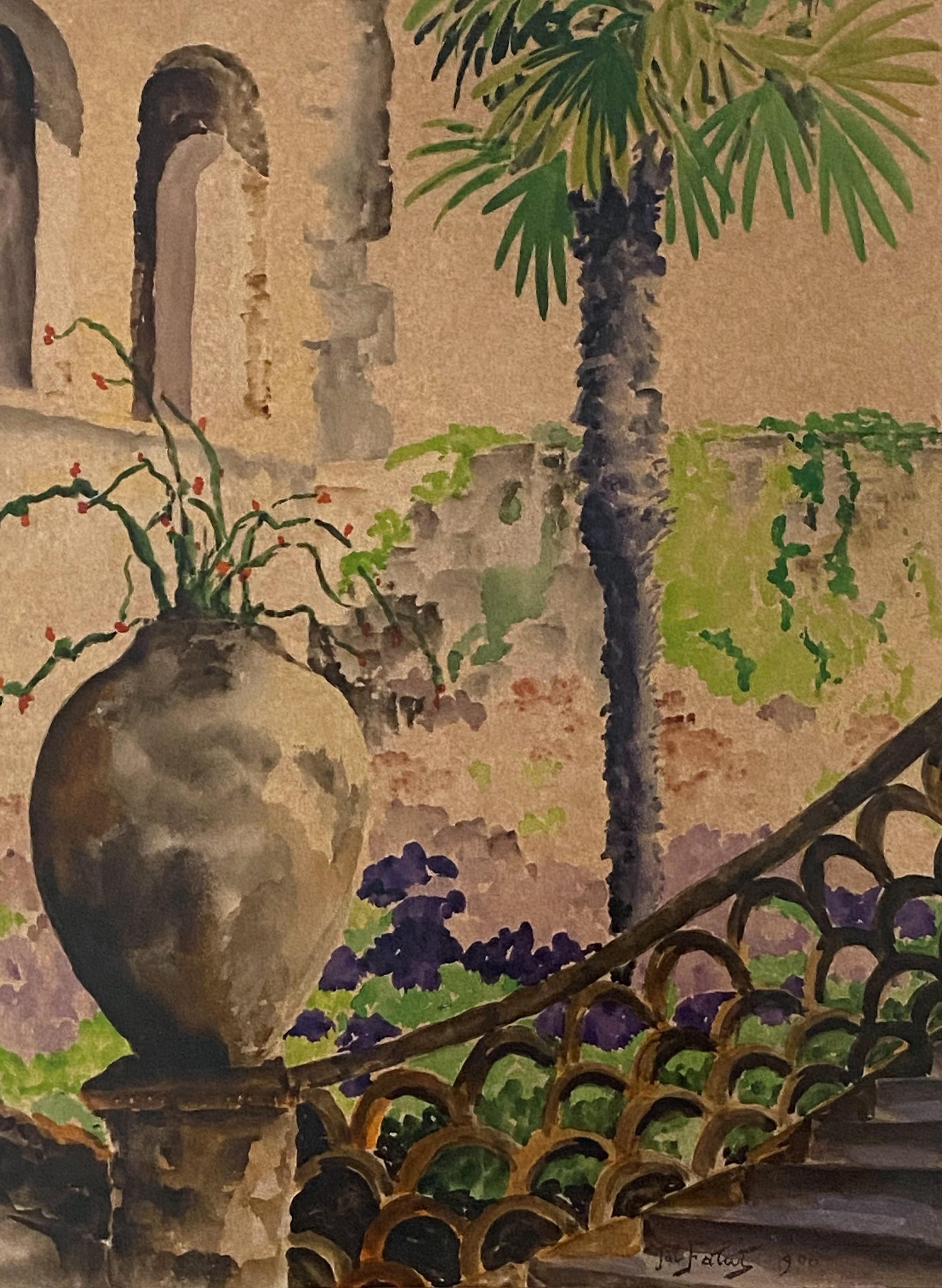 """Julian Fałat (1853-1929) """"Dziedziniec z palmą"""", źródło: Coral Gables Auction"""