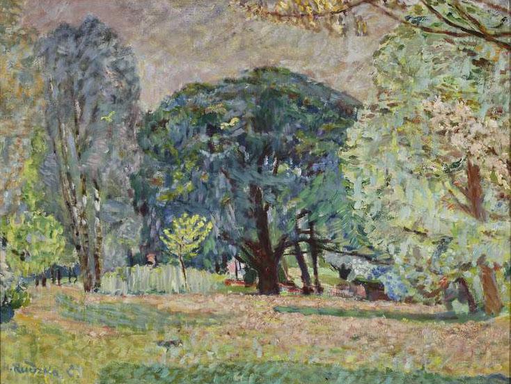 """Hanna Rudzka-Cybisowa (1897-1988) """"Krajobraz z drzewami w Wiśniowej"""", 1936 rok, źródło: Muzeum Narodowe w Warszawie"""