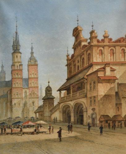 """Francois Stroobant (1819-1916) """"Rynek Główny w Krakowie"""", źródło: Couton Veyrac Jamault"""