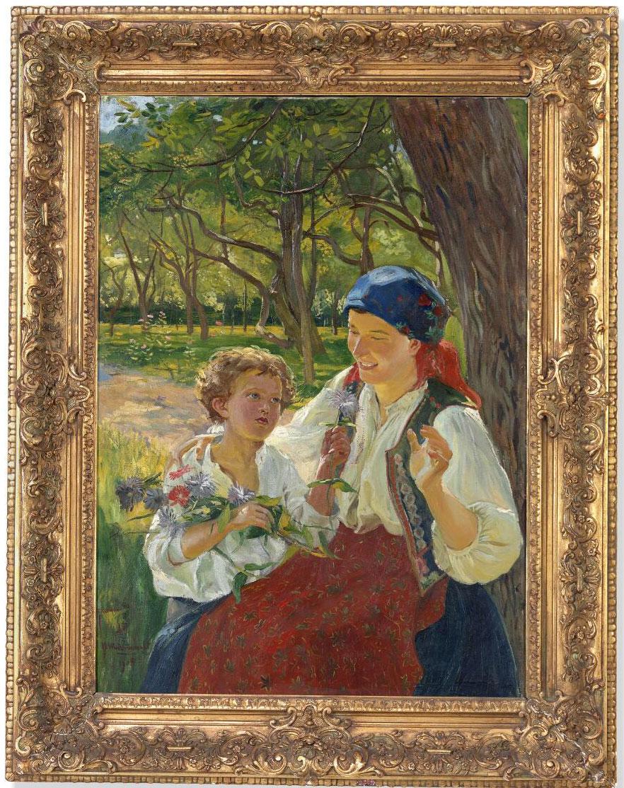 """Wincenty Wodzinowski (1866-1940) """"Macierzyństwo"""", źródło: Bruun Rasmussen Kunstauktioner"""