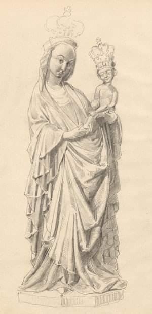 Rysunek Wyspiańskiego przedstawiający figurę Madonny z Krużlowej, źródło: MNK?