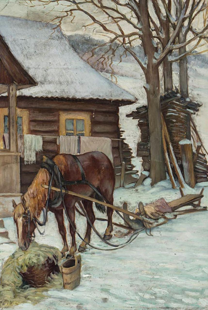 """Kazimierz Mitera (1897-1936) """"Koń przy wozie"""", 1925 rok, źródło: Ostoya"""