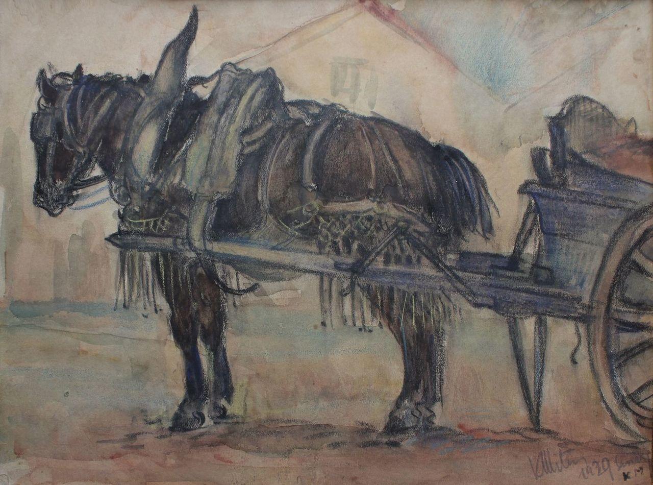 """Kazimierz Mitera (1897-1936) """"Sanary. Koń w zaprzęgu"""", 1929 rok, źródło: Rynek Sztuki"""