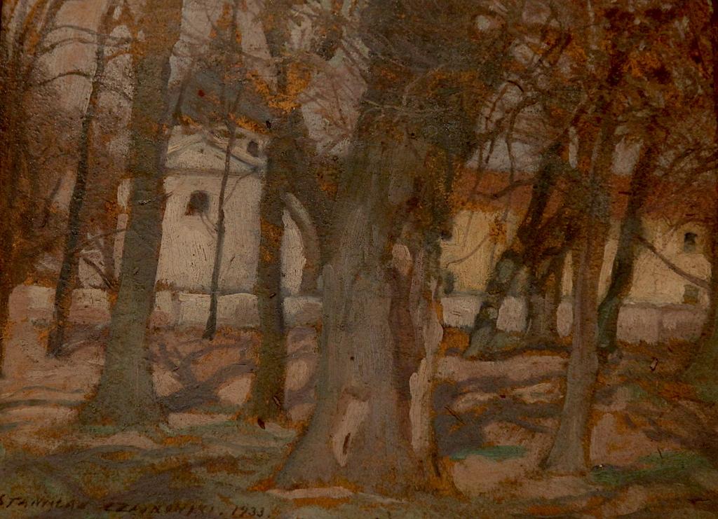 """Stanisław Czajkowski (1878-1954) """"Kościół w Czerniakowie"""", źródło: Muzeum Okręgowe w Bydgoszczy (kolekcja Wandy i Leonarda Pietraszaków)"""