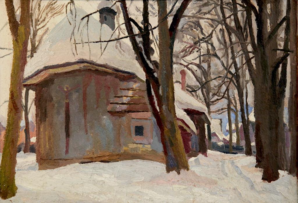 """Stanisław Kamocki (1875-1944) """"Stary kościół w Zakopanem"""", źródło: Muzeum Okręgowe w Bydgoszczy (kolekcja Wandy i Leonarda Pietraszaków)"""