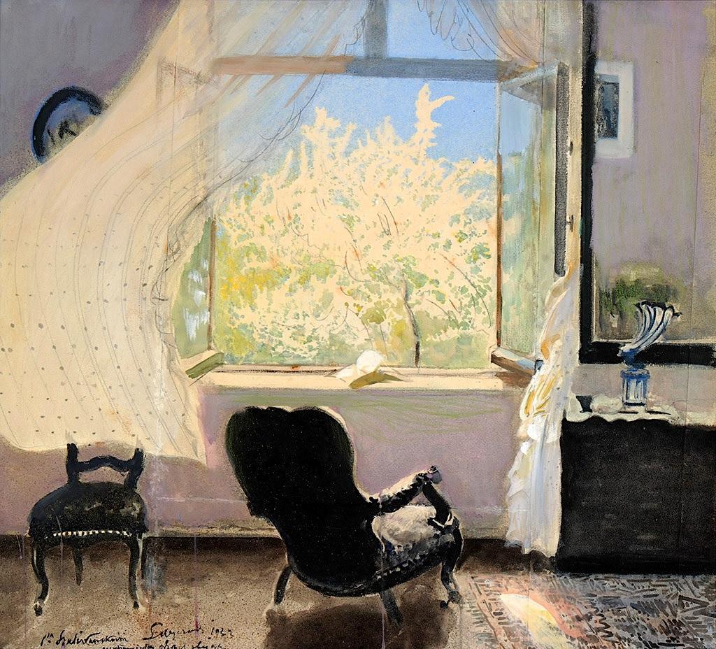 """Leon Wyczółkowski (1852-1936) """"Wiosna - wnętrze pracowni artysty"""", 1933 rok, źródło: Muzeum Okręgowe w Bydgoszczy"""