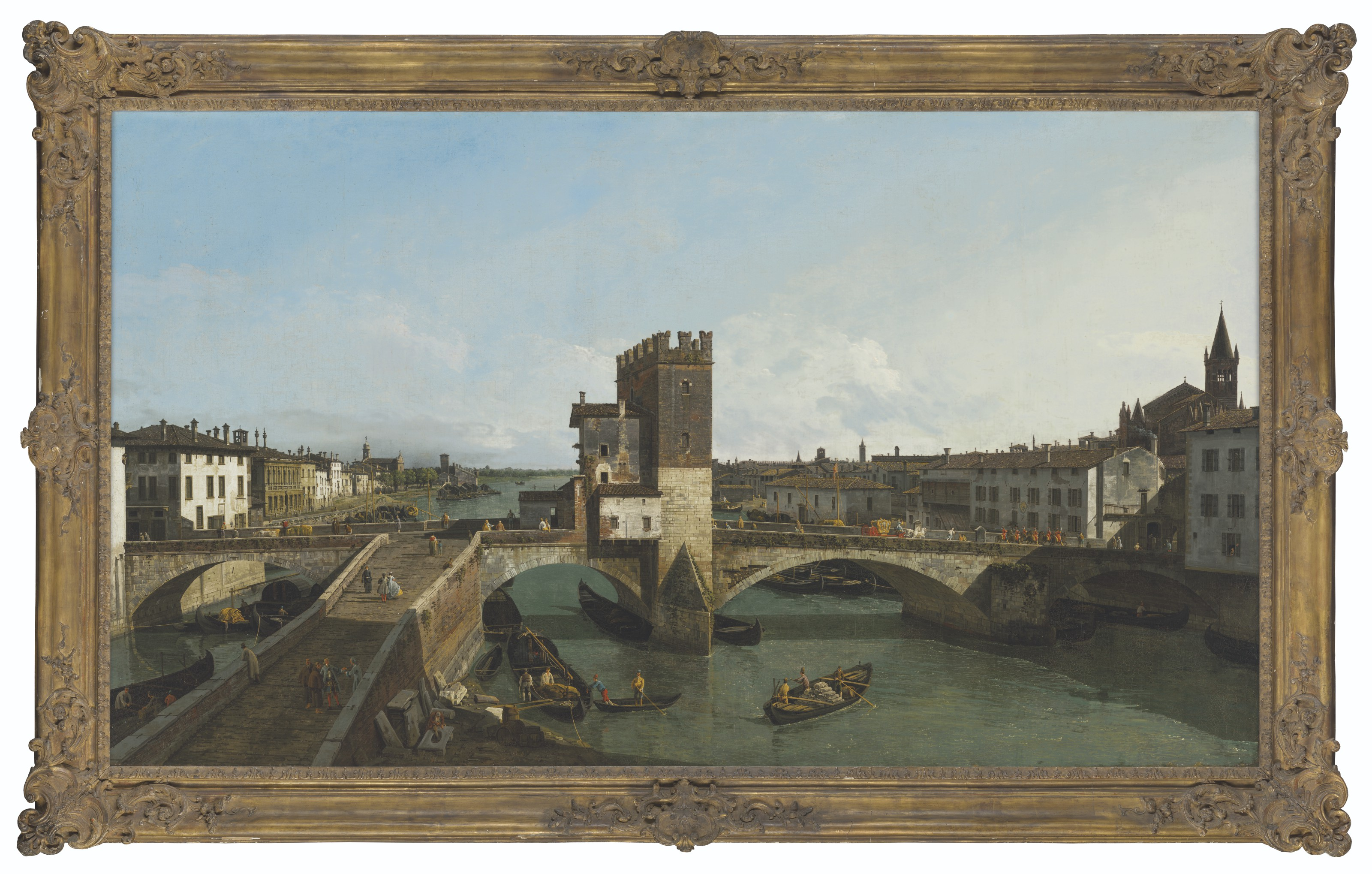 """Bernardo Bellotto, zwany Canalletto (1721-1780) """"Widok Werony z mostem Navi"""", źródło: Christie's"""