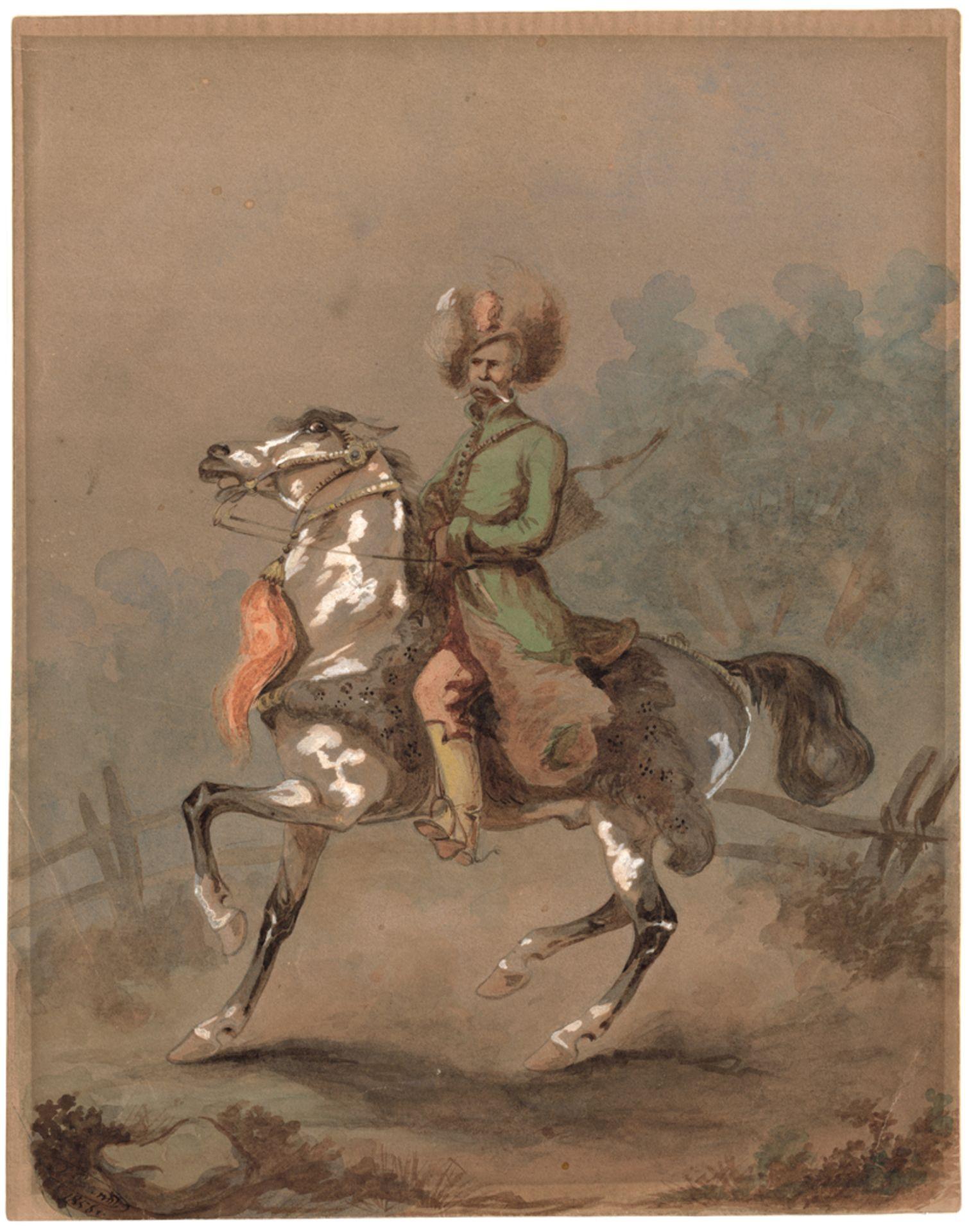 "Józef Brandt (1841-1915) ""Kozak na koniu"", źródło: Bassenge"