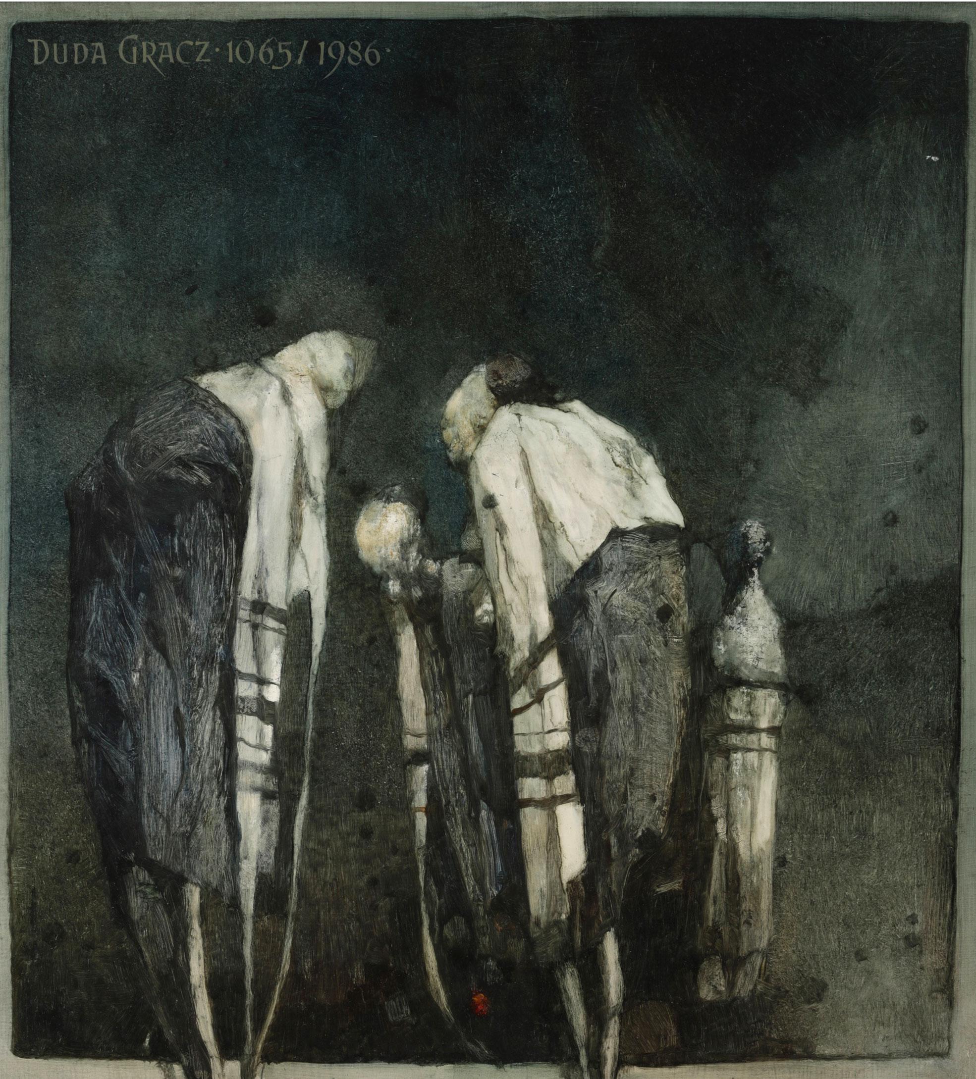 """Jerzy Duda Gracz """"Chasydzi - obraz 1065"""", 1986 rok, źródło: Chiswick Auctions"""