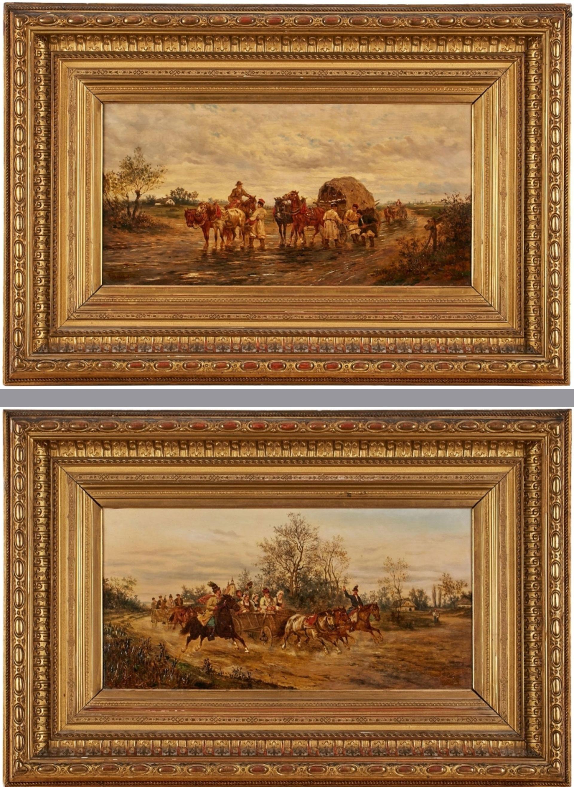 """Ludwik Gędłek (1847-1904) Para obrazów: """"Orszak weselny"""" i """"Trudna przeprawa"""", źródło: Auktionshaus Doebritz"""