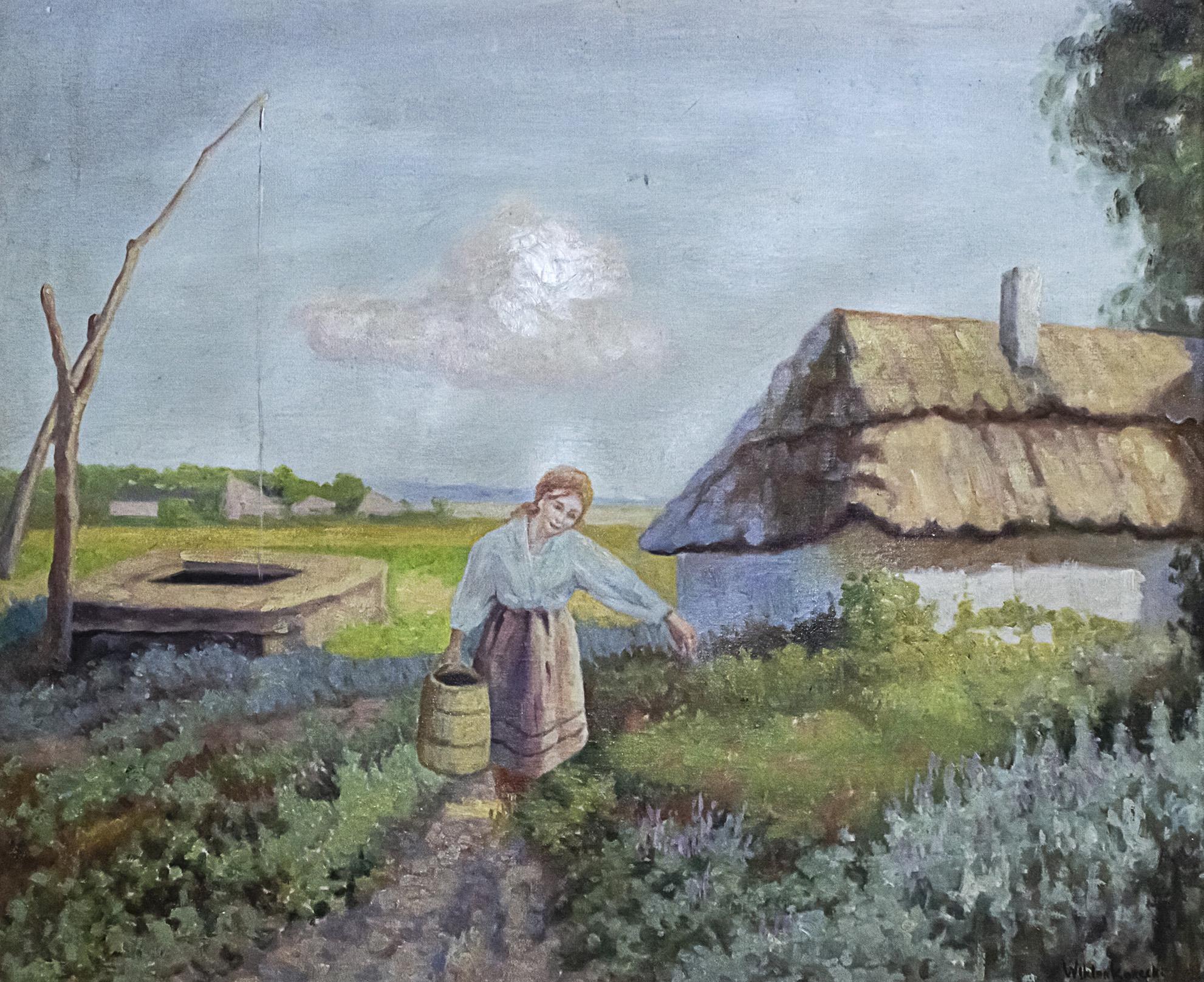 """Wiktor Korecki (1890-1980) """"Dziewczyna z wiadrem"""", źródło: Pasarel"""
