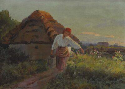 """Wiktor Korecki (1890-1980) """"Dziewczyna z wiadrem"""", źródło: Neumeister"""