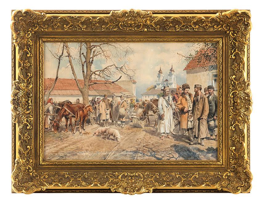 """Antoni Kozakiewicz (1841-1929) """"Scena targowa"""" 1909 rok, źródło: Kedem"""