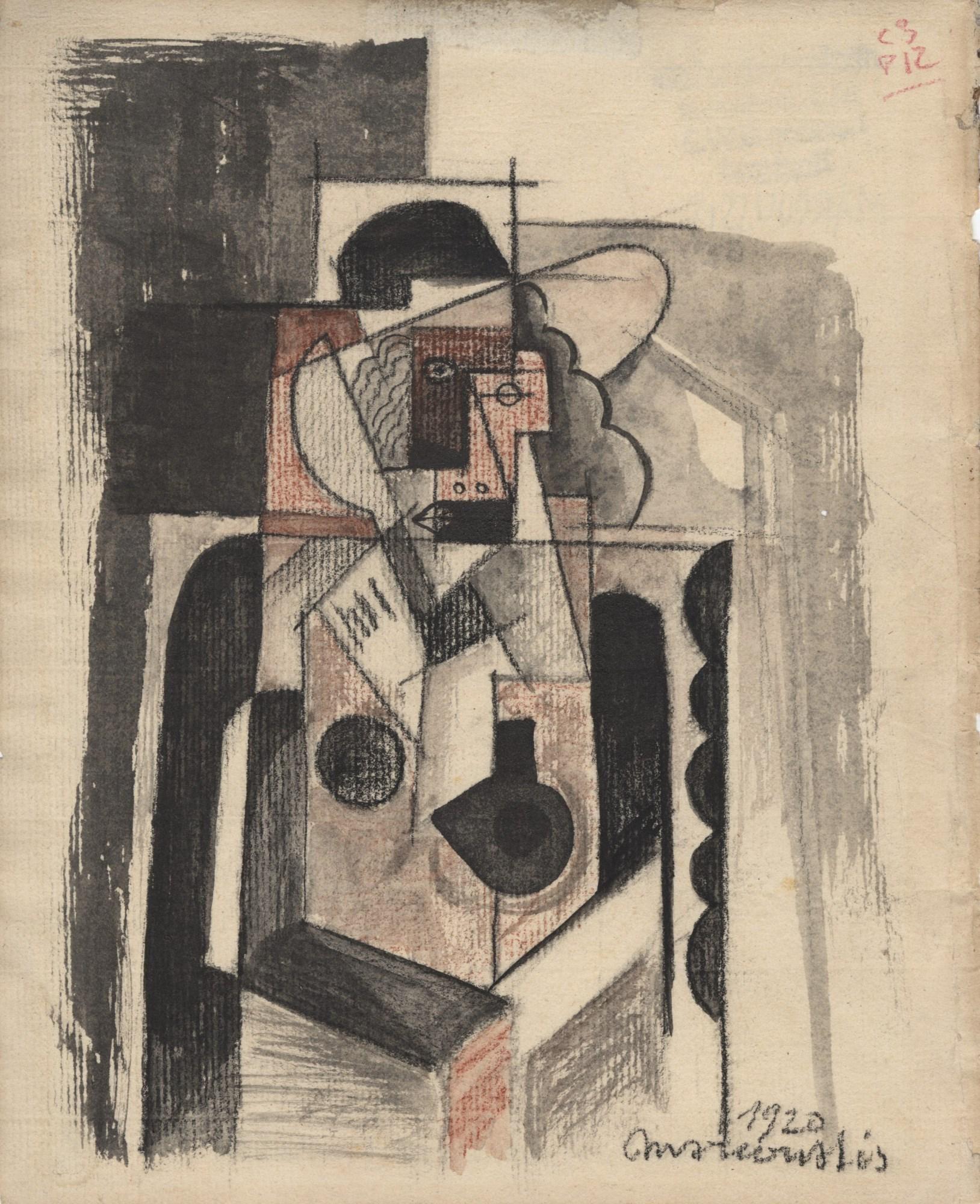 """Louis Marcoussis (1878-1941) """"Kobieta w kapeluszu"""", źródło: Stanford Auctioneers"""