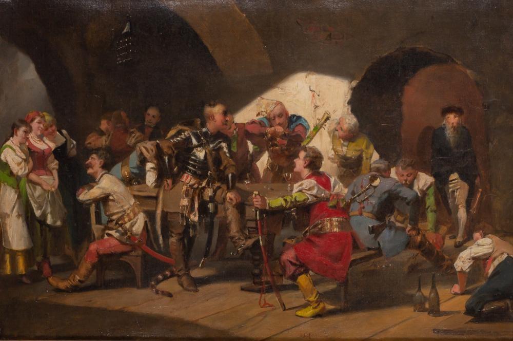 """Jan Czesław Moniuszko (1853-1908) """"Scena w karczmie"""", źródło: Doyle New York"""