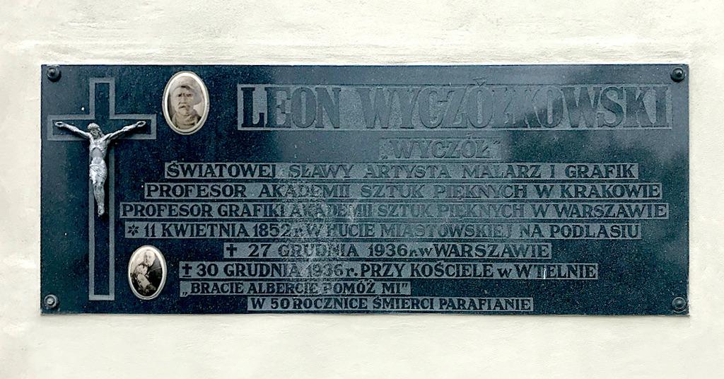Tablica pamiątkowa Leona Wyczółkowskiego na cmentarzu we Wtelnie, źródło: archiwum autora