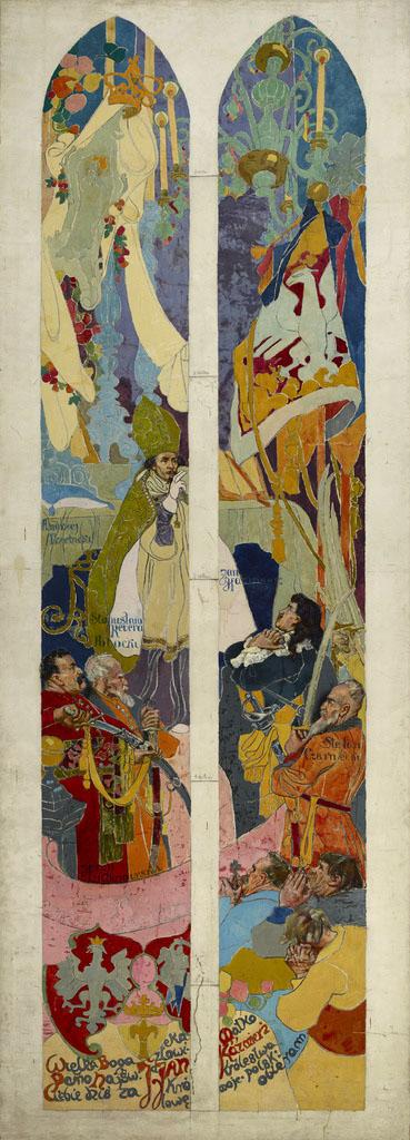 """Stanisław Wyspiański (1869-1907) """"Śluby Jana Kazimierza"""", projekt witrażu, lata 1893-1894, źródło: Muzeum Narodowe w Krakowie"""