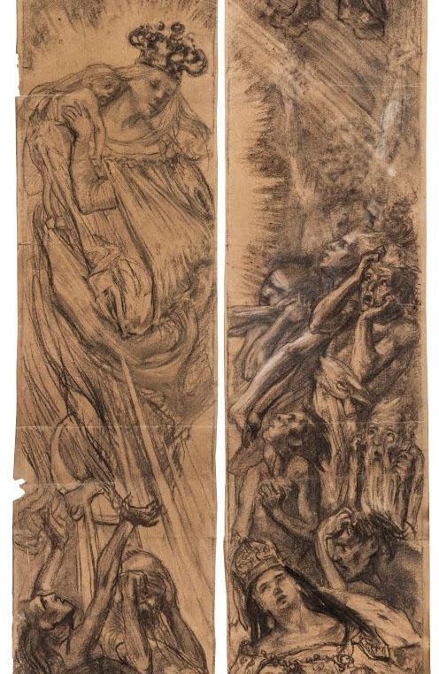 """Stanisław Wyspiański (1869-1907) """"Śluby Jana Kazimierza"""", fragment projektu witraża, 1892 rok, źródło: Muzeum Narodowe w Krakowie"""