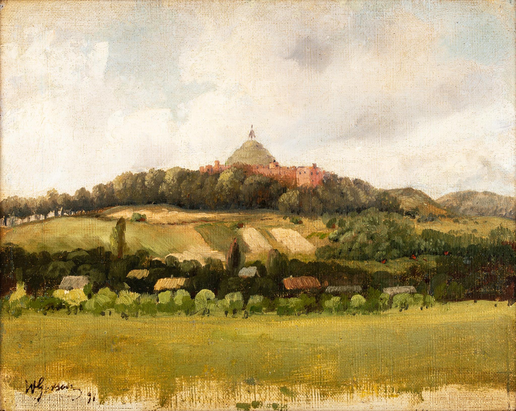 """Wojciech Gerson (1831 - 1901) """"Widok na Kopiec Kościuszki"""", 1891 rok, źródło: Salon Dzieł Sztuki Connaisseur"""