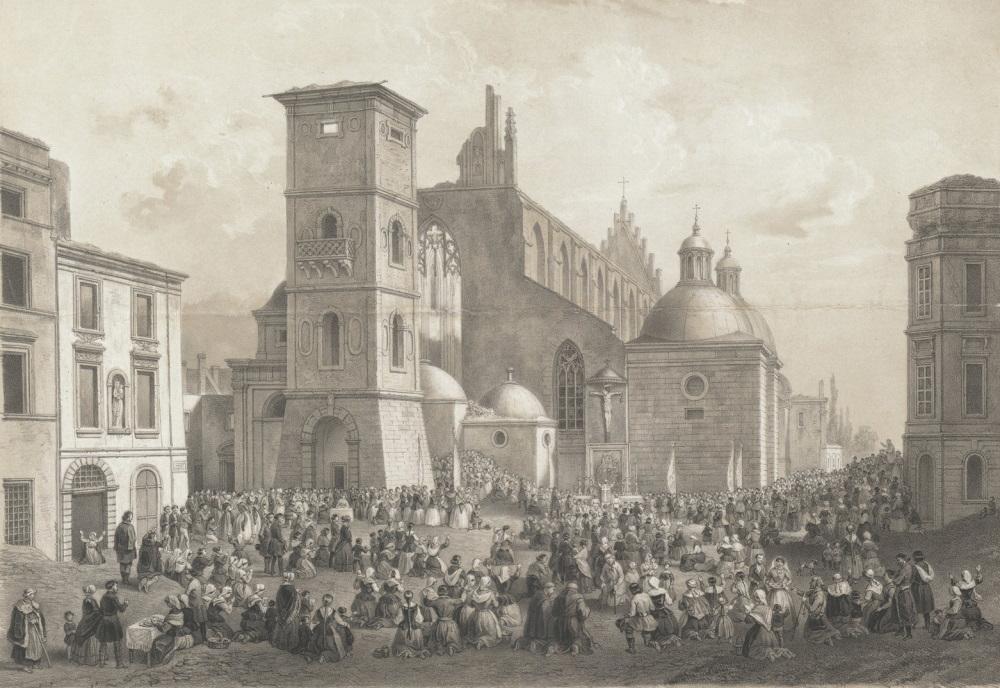 """""""Kościół dominikanów po pożarze w lipcu 1850 roku"""" według obrazu Józefa Kurowskiego"""