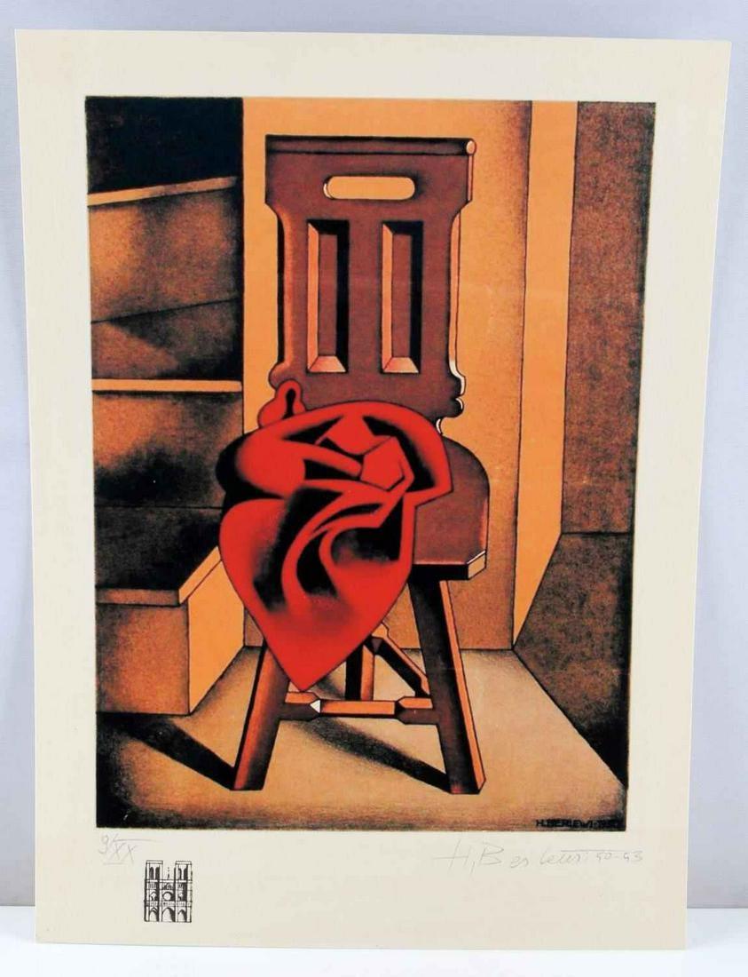 """Henryk Berlewi (1894-1967) """"Krzesło z czerwoną draperią"""", źródło: Affiliated Auctions"""