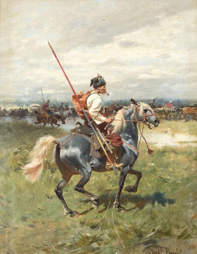 """Józef Brandt (1841 - 1915) """"Kozak na koniu"""", źródło: PolswissArt, aukcja 23 maja 2017"""