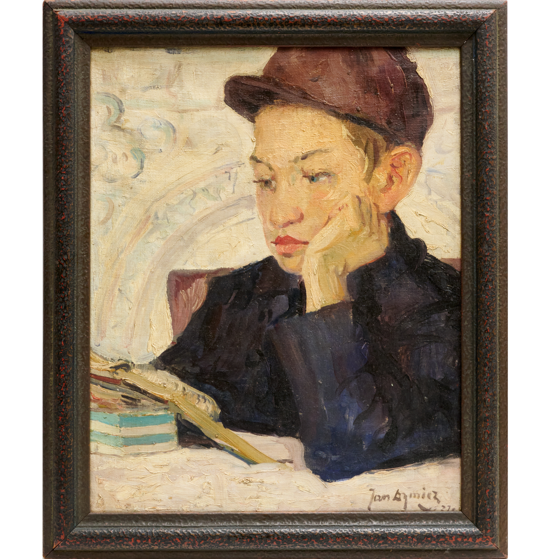 """Jan Dymicz (1877-1945) """"Chłopiec nad książką"""", źródło: Millea Bros. Ltd."""